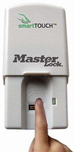 Master Lock smartTOUCH Garage Door Opener. The smartTOUCH Garage Door Opener Works With Any Manufacturer's Garage Door Opener, And Stores Up To 20 User's Fingerprints. You Can Also Provide Temporary Access For Contractors Or Visitors Etc, By Adding, Deleting, And Changing User Profiles.
