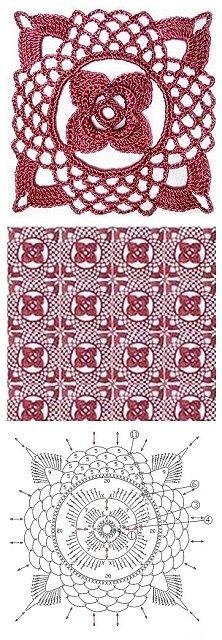 flower lace crochet square: diagram