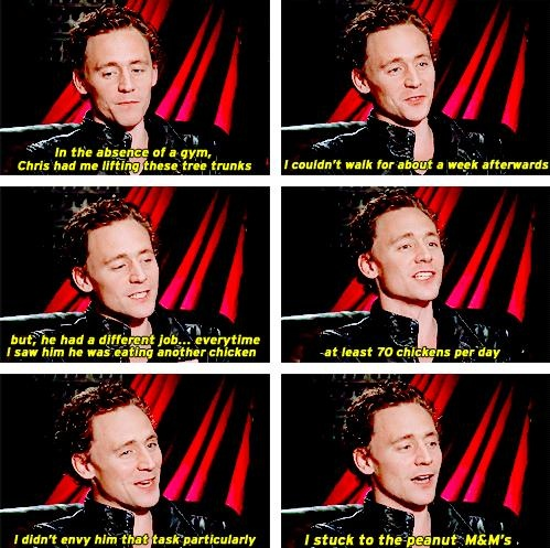 """Tom Hiddleston ... """"At least 70 chickens a day."""""""
