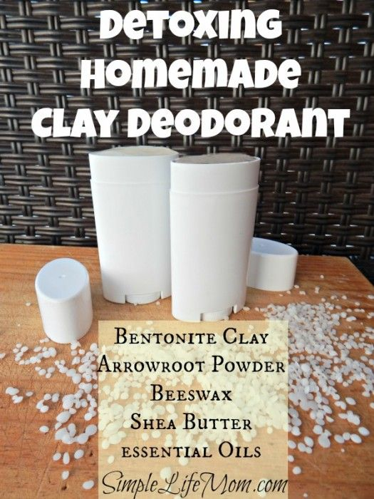Detoxing Homemade Clay Deodorant - with Bentonite clay, bees wax, Shea butter, Aeroflot powder, coconut oil, and essential oils. From SimpleLifeMom.com