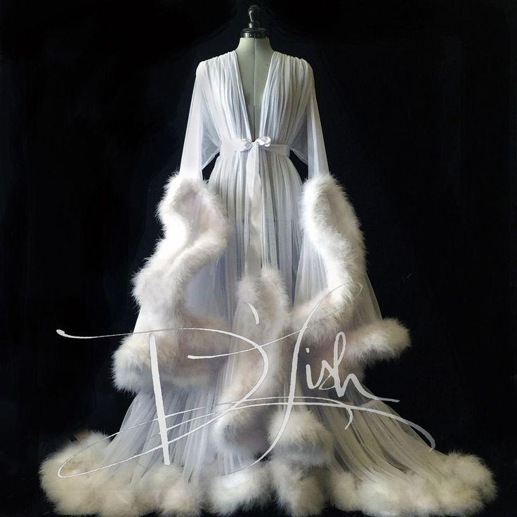 Luxuary Floor Length Handmade Mesh Robe with Fur Trim   eBay