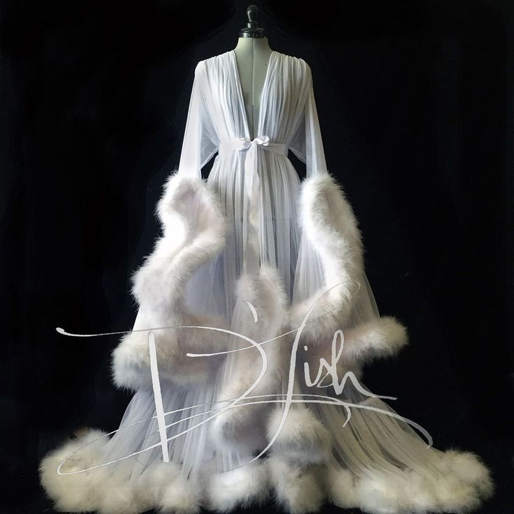 Luxuary Floor Length Handmade Mesh Robe with Fur Trim | eBay