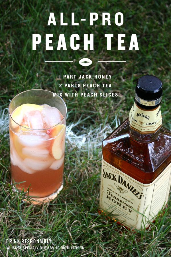 This cocktail is part of our All-Pro Lineup. It's simple to make and will be a crowd pleaser at your next tailgate.  Just fill your glass with ice. Pour 1 part Jack Honey followed by 2 parts Peach Tea. Garnish with a few peach slices and your ready for the game.  Practice safe tailgating. Serve chilled & enjoy responsibly.