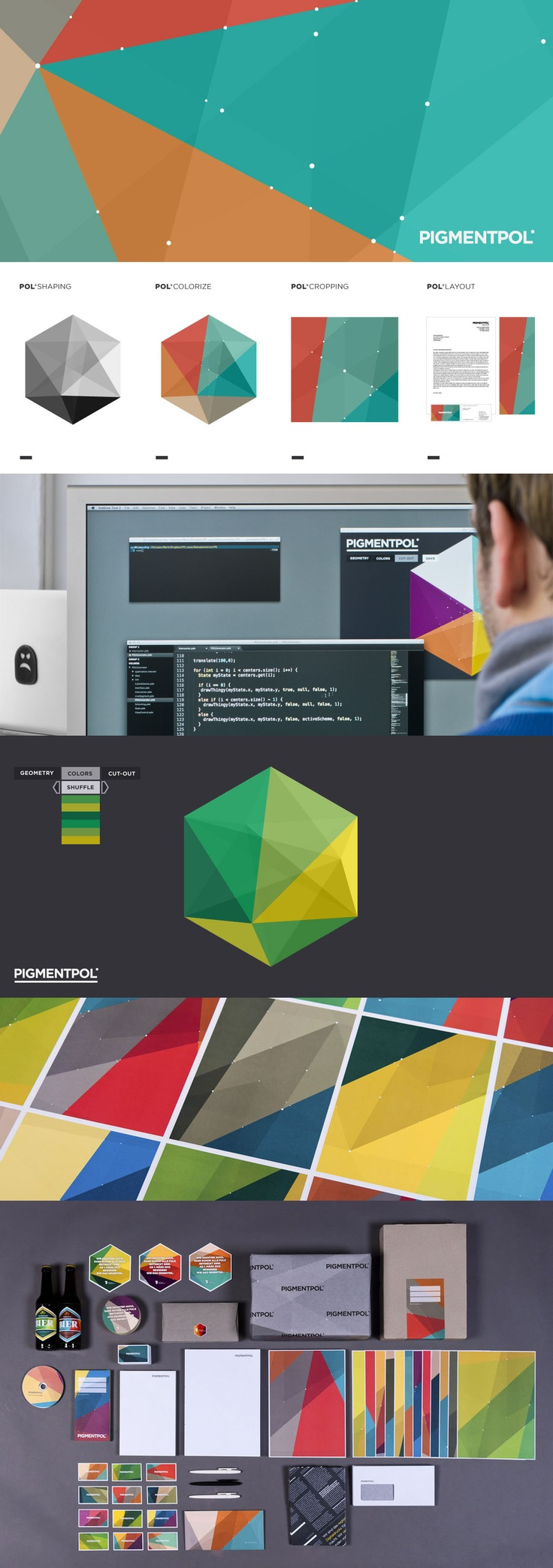 Pigmentopol by Atmodesign + Feld / 2012 / The hexagon functions as a key object for the geometry, within which additional intersections can be arranged. Following a chosen color scheme, every segment is colorized and all intersections are highlighted. Before exporting the graphic as a PDF file, the ability to scale and crop to a desired area is given. The generated graphics can be further processed or simply used within the regular layout process / #generative #processing