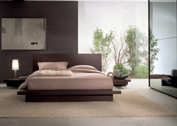 TANGO - Bed in grey oak finishing  Sloping headboard. http://www.fimarmobili.com