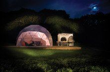 Magical domes looks amazing in the moonlight, Glisten Camping at Col d'Ibardin