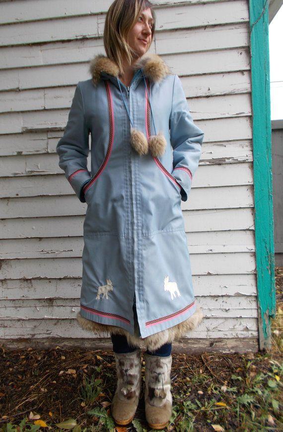 vintage eskimo coat blue wool snowflake pattern by clotheswhorse, $198.00