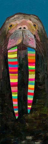 "Designer Walrus on Blue - Canvas Reproduction 12"" x 36"". Eli Halpin"