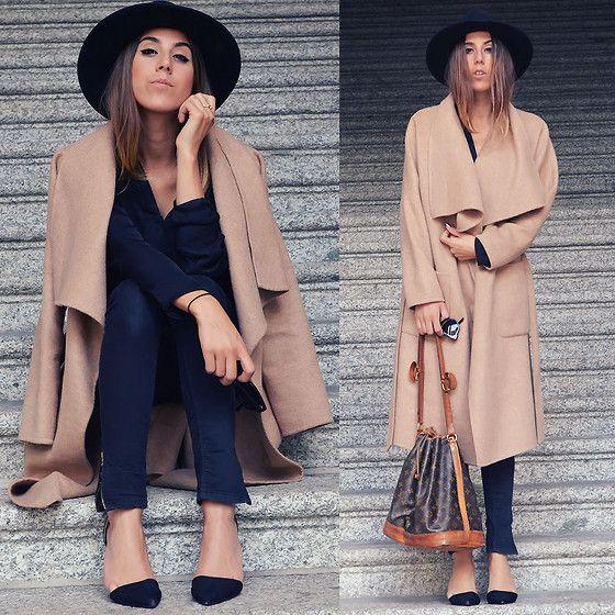 Alison Liaudat - Black Hat, Zara The Oversized Coat, Black Jeans, Louis Vuitton Vintage Bag - I've been here before