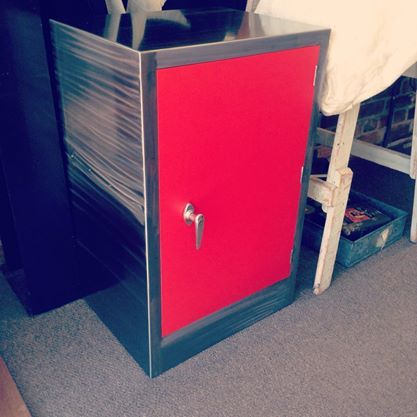 Refurbished metal safe with bright red door - The General Store