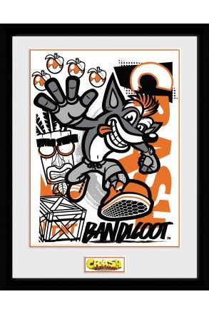 Crash Bandicoot High Four Framed Collector Print