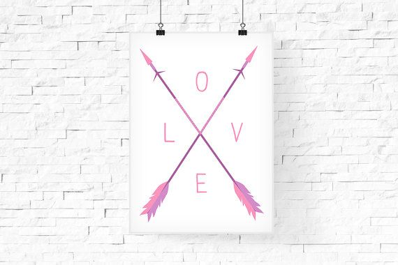 Valentine's Day LOVE Print Arrow Print Pastel Spring by FPD3sign
