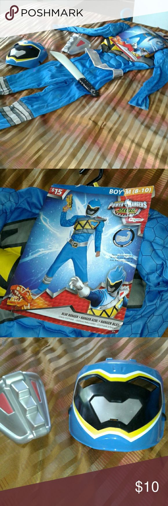 boys power ranger costume brand new comes with mask and shoulder piecse blue power ranger Costumes Halloween