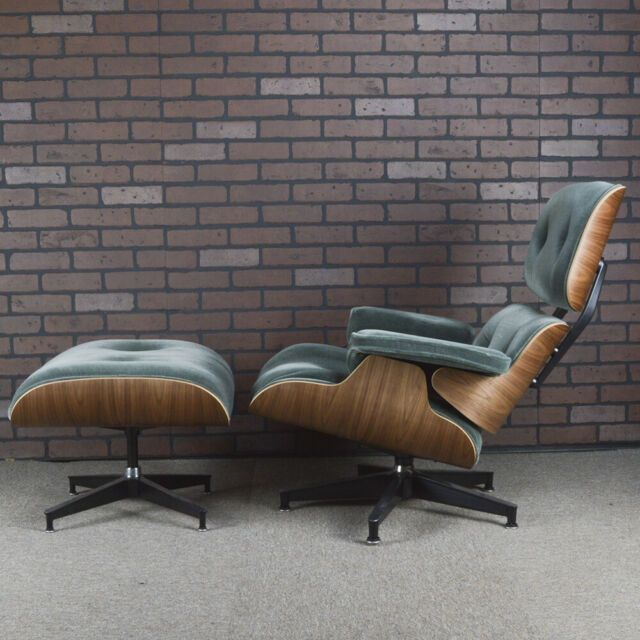 Eames Lounge Chair And Ottoman For Herman Miller Green Mohair
