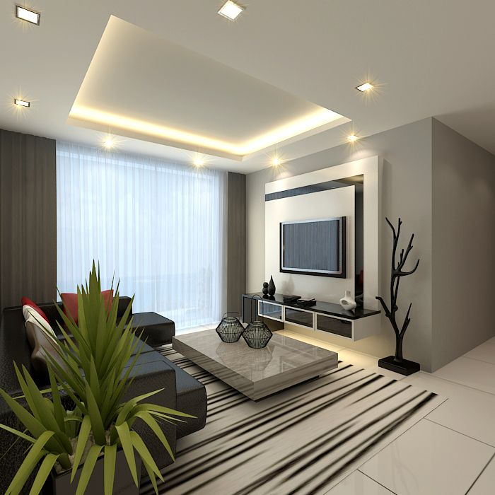 tv feature wall in modern living room