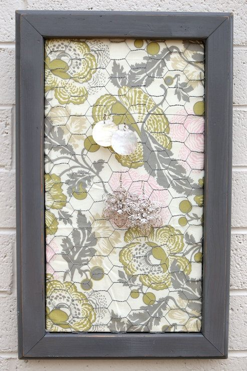 Distressed Grey Painted Wooden Frame Earring Board with Chicken Wire Pink  Grey Green Fabric Decoration Jewelry Holder Picture Memo