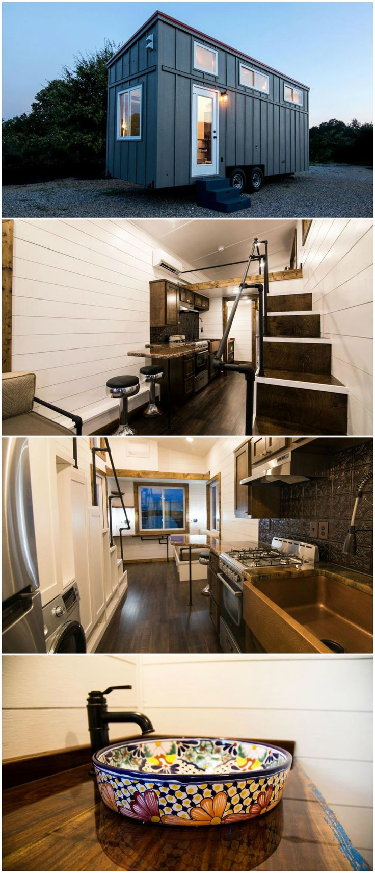 Hyacinth is a nice 24-foot tiny house on wheels with a gorgeous kitchen. The tiny house is designed by Harmony Tiny Homes.  The kitchen features a custom made granite countertop with seating area, two upcycled bar stools, a copper apron sink, and metal backsplash. The kitchen appliances include a four burner gas range with venting hood, stainless steel refrigerator, and a combo washer/dryer. Storage stairs, drawers, and upper cabinets provide plentiful storage options.