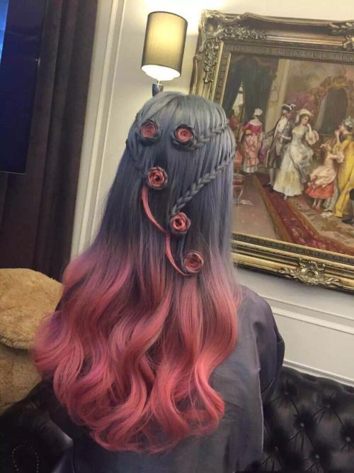 This lovely red and black hair colour with roses in it is set to blow minds!!