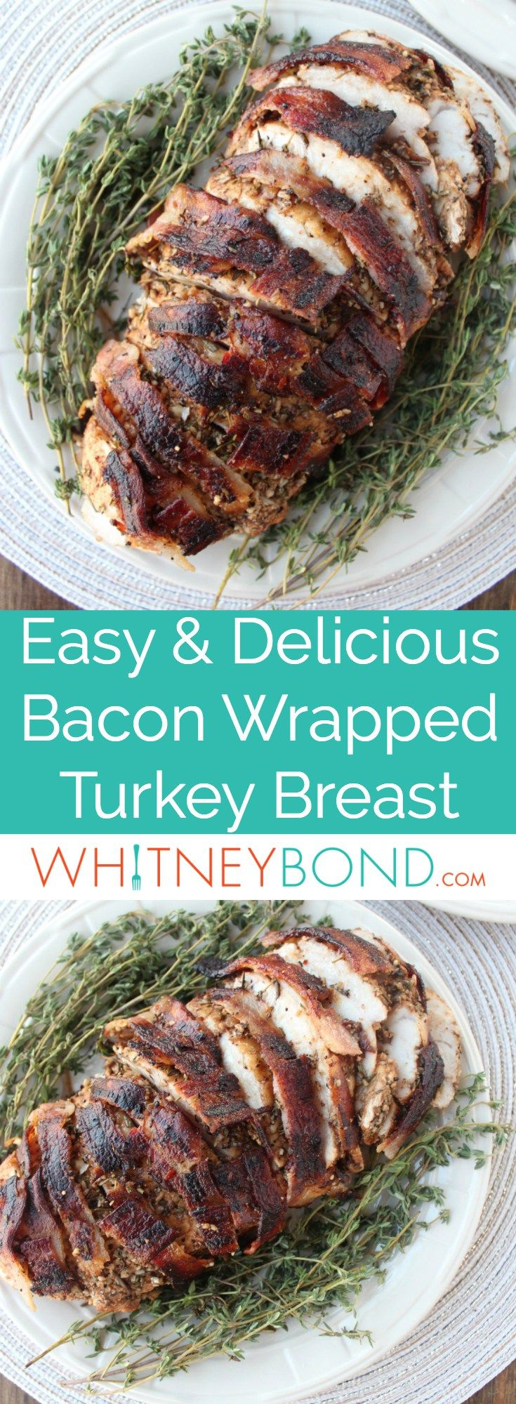 This bacon wrapped turkey breast is covered in a balsamic garlic herb rub then wrapped in a bacon weave for a flavorful, juicy turkey recipe. #Turkey #Thanksgiving #Bacon #GlutenFree