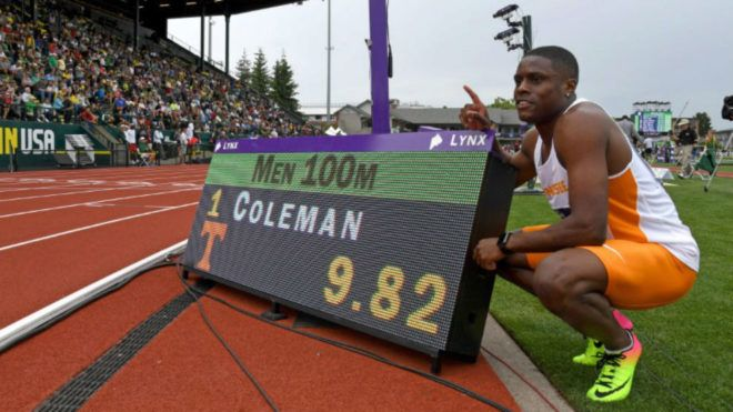 Christian Coleman of Tennessee blasted 9.82 in the 100m semi-finals to break the NCAA record previously set at 9.89 byNgonidzashe Makusha of Florida State in 2011. The Mark was also a world lead for the young Amerrican.  21 year old athlete, Christian Coleman ran the fastest time in the world for 2017 at the NCAA Championships.   #2008 Summer Olympics #2018 Winter Olympics #Advertising #Akani Simbine #Akeem Haynes #Andrew Holness #Anthony Joshua #Arizona #Germaine Mason