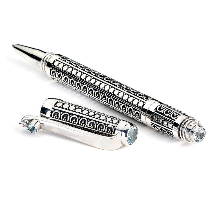 Sterling Silver Geometric Pen (Blue Topaz)