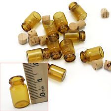 10 Pcs Mini Brown Empty Glass Vials Jars Containers Little Charm Wishing Bottles