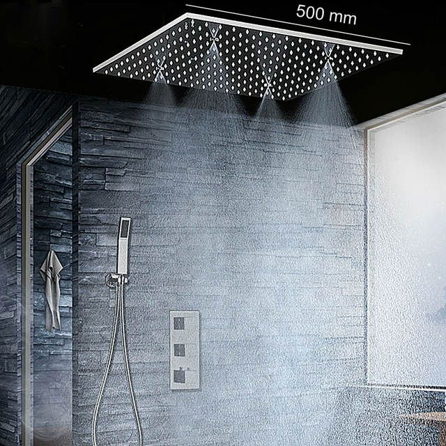 Bathroom Fixture Shower System 20 Inch Led Mist Rain Shower