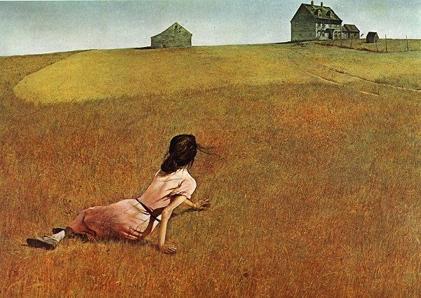 Andrew Wyeth, Christina's world (1948). Still musing about the crawling stillness of that high horizon.