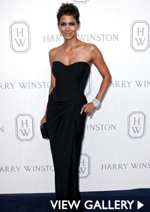 Halle Barry -- black gown on the red carpet.
