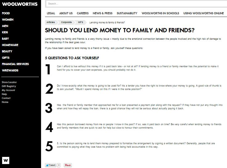 Should You Lend Money to Family and Friends?; Website article for Woolworths Online (South Africa)  #wordtiffie Need similar (or other copywriting/web content) work done? Contact me - darrell@wordtiffie.co.za