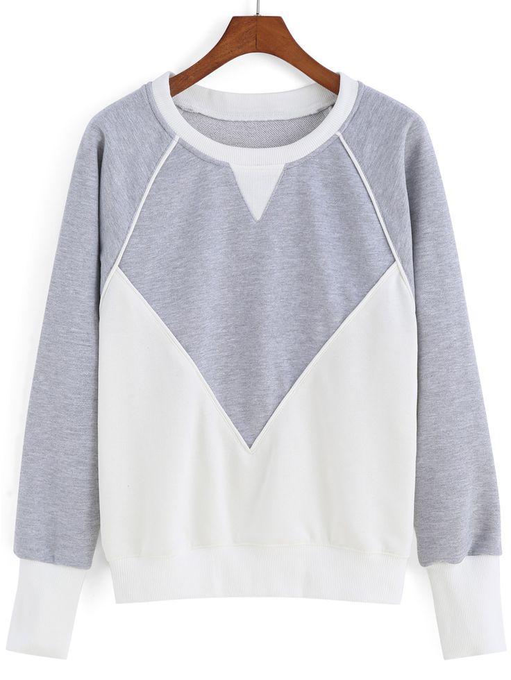 Color-block Round Neck Loose Sweatshirt