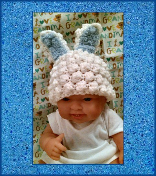 Crochet Bunny Rabbit Hat w/ Blue Ears  Photo Prop by PostsNPurls, $22.00