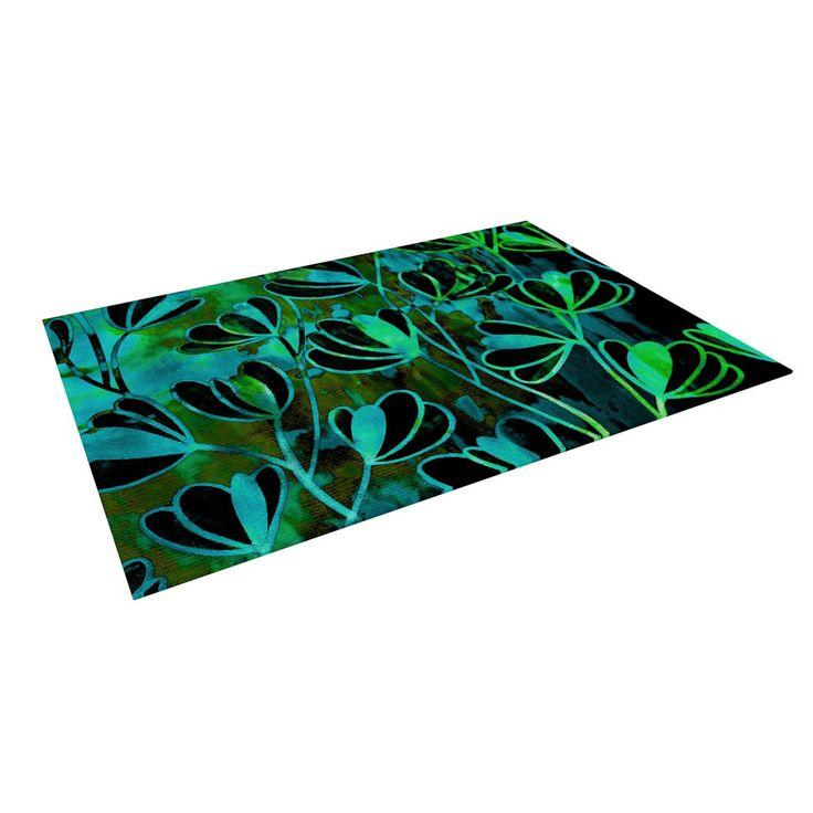 """Lime Green And Blue Rug: Ebi Emporium """"Efflorescence"""