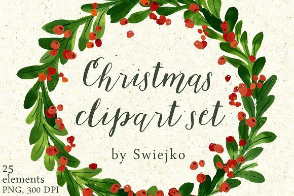 Christmas wreaths clipart by swiejko on @creativemarket