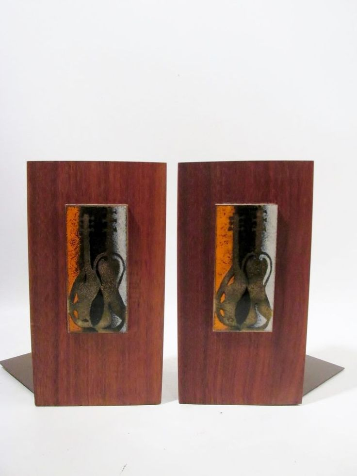 Abstract COPPER on ENAMEL Walnut Midcentury Danish Modern BOOKEND Pair BOVANO  #DanishModern #Bovano