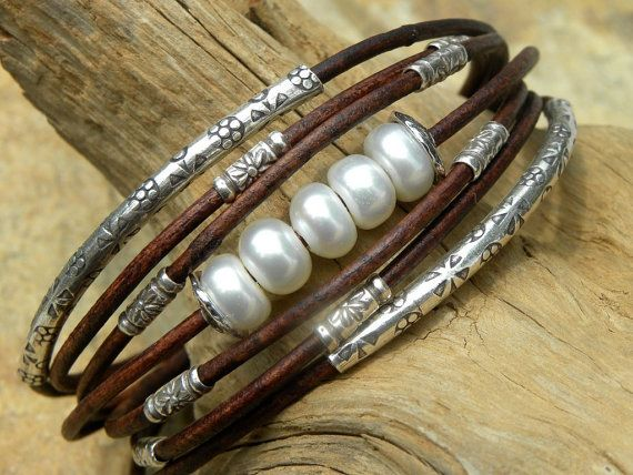 Perles de mer Akoya, cuir et Bracelet en argent Sterling