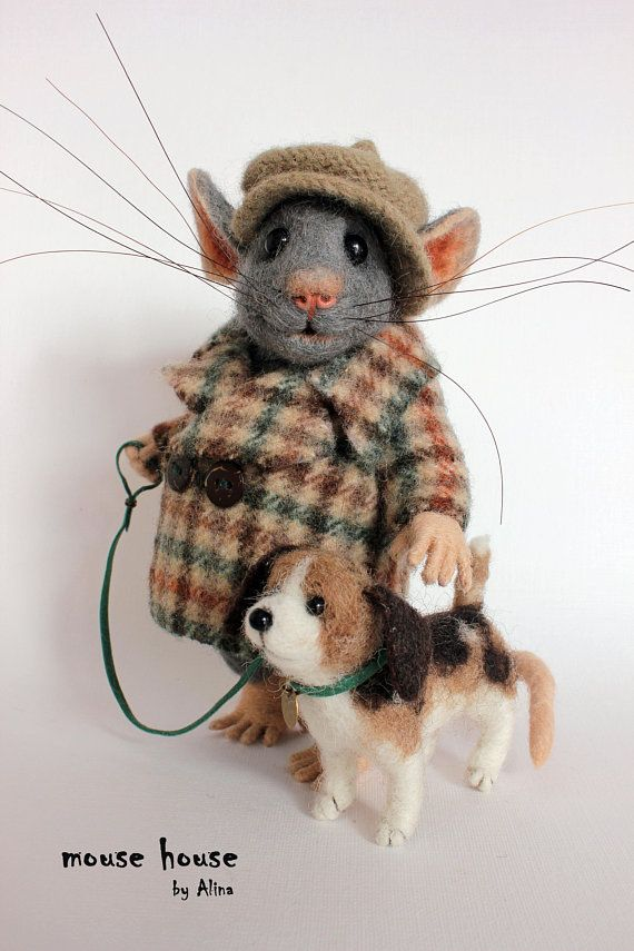 Mouse with Dog, Felted Mouse, Soft Sculpture, Felted Animal, Needle Felted Mouse, Cute Felt, Cloth dolls, Waldorf Doll, Art Doll – Filzen
