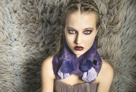 Purple Fur collar rabbit fur lilac viscose fringe pompom purple mirrors