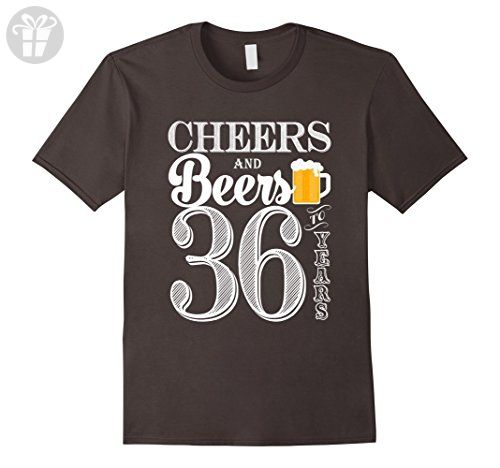Mens Cheers And Beers To My 36 Years - 36th Birthday Gift T-Shirt Medium Asphalt - Birthday shirts (*Amazon Partner-Link)