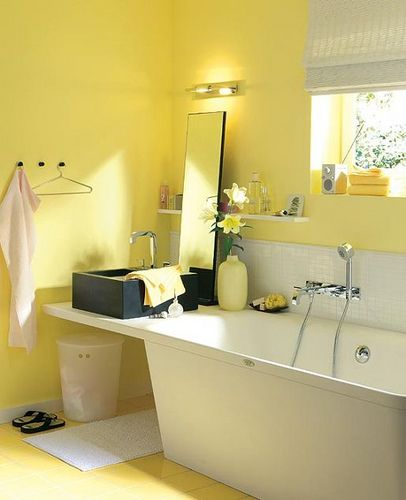 17 best images about you are my sunshine on pinterest for Small yellow bathroom ideas