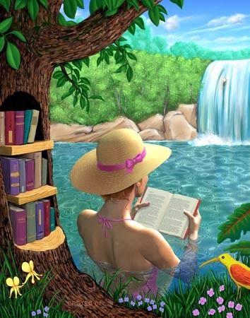 Refreshing reading  cute illustration