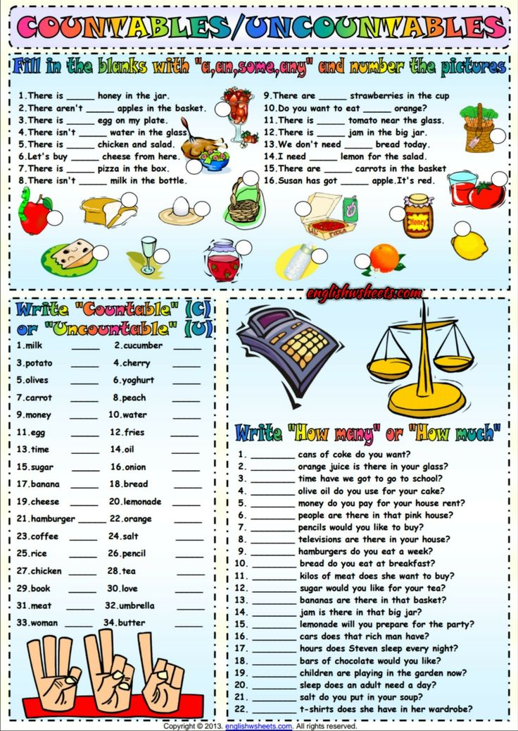 Countables And Uncountables ESL Exercises Worksheet | Esl ...