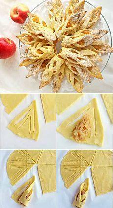 Recette de la pâte: Mélanger 100g de beurre ramolli, 60 g de sucre,1 oeuf, 1 pincée de sel et 50ml de lait. Ajouter les 250 g de farine et 1 c de levure. Former une boule et laisser reposer 1 heure au frigo. Étaler la pâte en 3 ou 4 cercles de 3 mm d'épaisseur puis couper chacun d'eux en 6 comme sur la photo. Enfin, garnir avec de la compote de pommes ou autre et rabattre chaque côté. Cuire à 180°C pendant 15 min (à four chaud). Saupoudrer de sucre glace.: