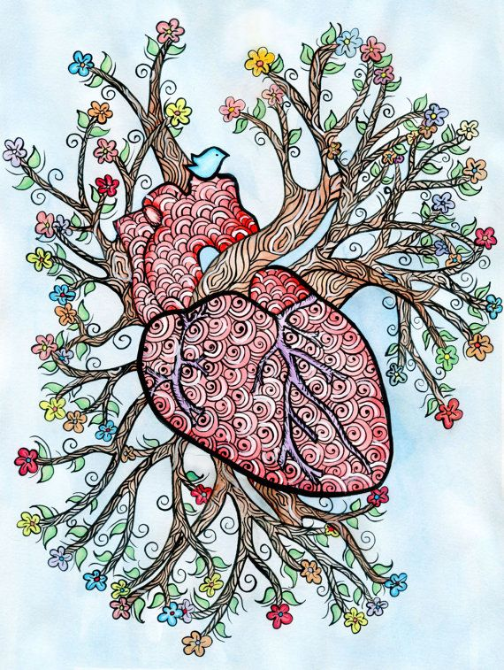 Ink and Watercolor Anatomical Heart Art Print 8 X 10 by LucentJane