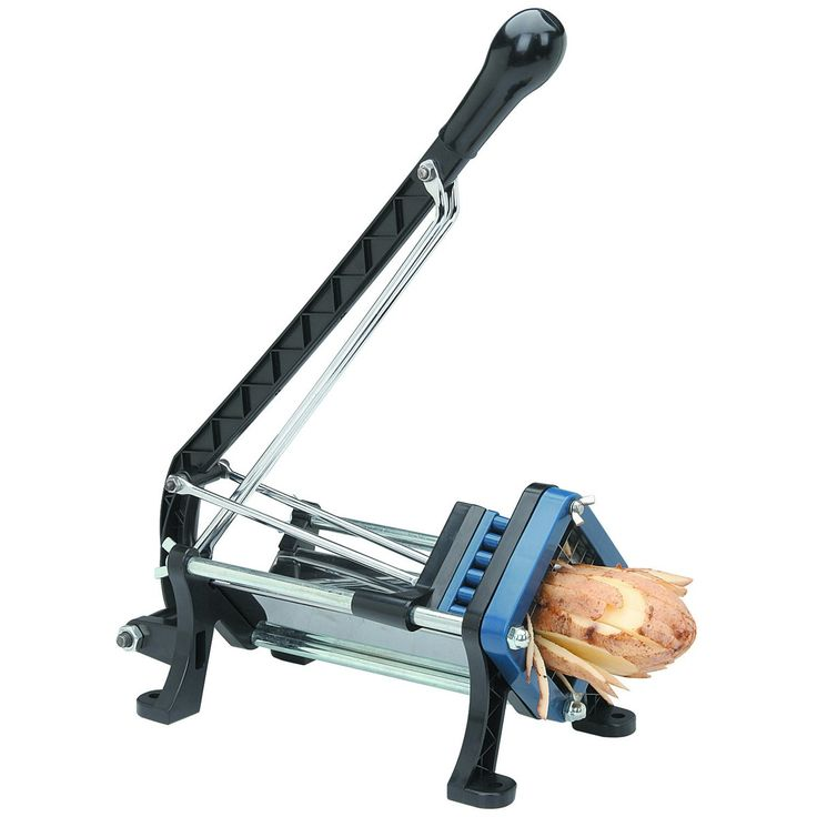 Heavy Duty French Fry Cutter, 29.99 -- has 2 pushing blocks and 2 cutting frames to make thick or thin cut fries -- designed for wall mounting (hardware not incl.) although i don't think you'd have to mount it -- 90 day guarantee