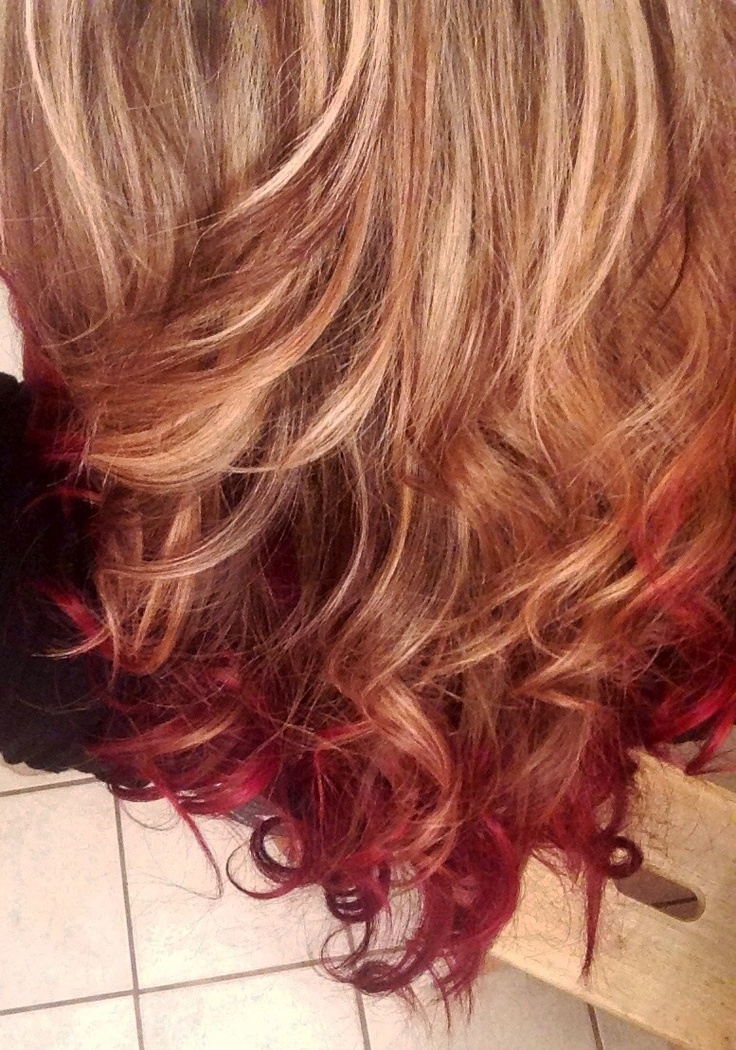 Ombre Hair Blonde To Velvet Red W Low Amp Highlights