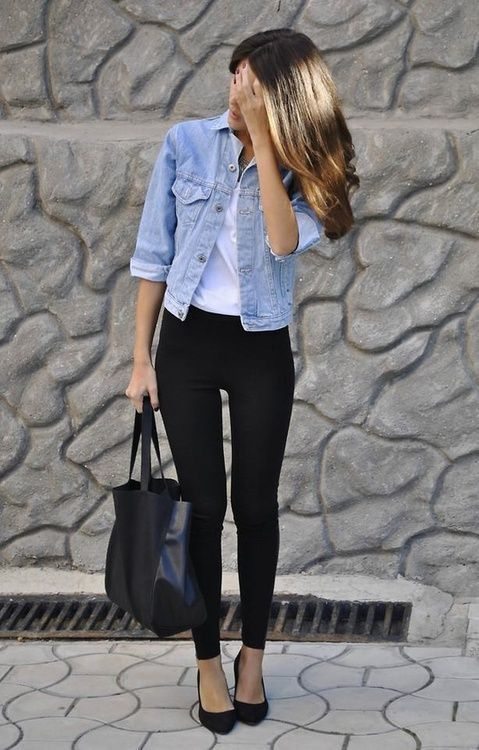 Choose a light blue denim jacket and black leggings for a casual get-up. Elevate your getup with black suede pumps.  Shop this look for $67:  http://lookastic.com/women/looks/pumps-tote-bag-leggings-tank-denim-jacket/5743  — Black Suede Pumps  — Black Leather Tote Bag  — Black Leggings  — White Tank  — Light Blue Denim Jacket
