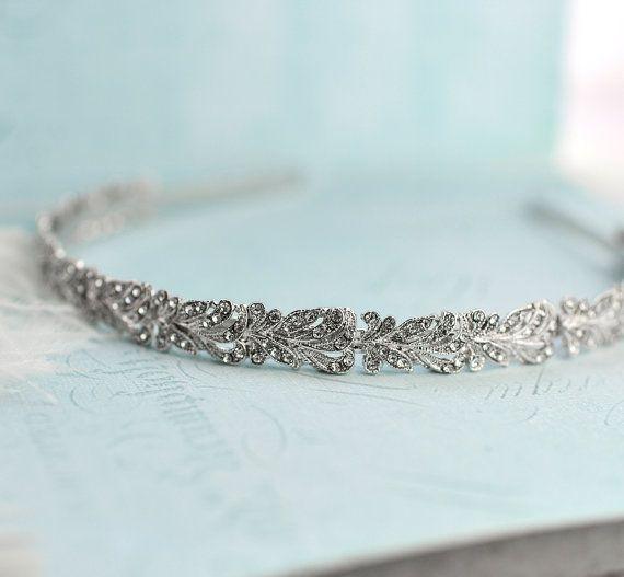 Vintage Style Crystal Headband Crystal Wedding by LottieDaDesigns