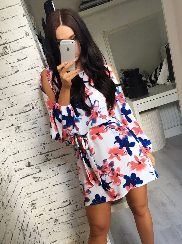 alison red and blue crepe style belted dress
