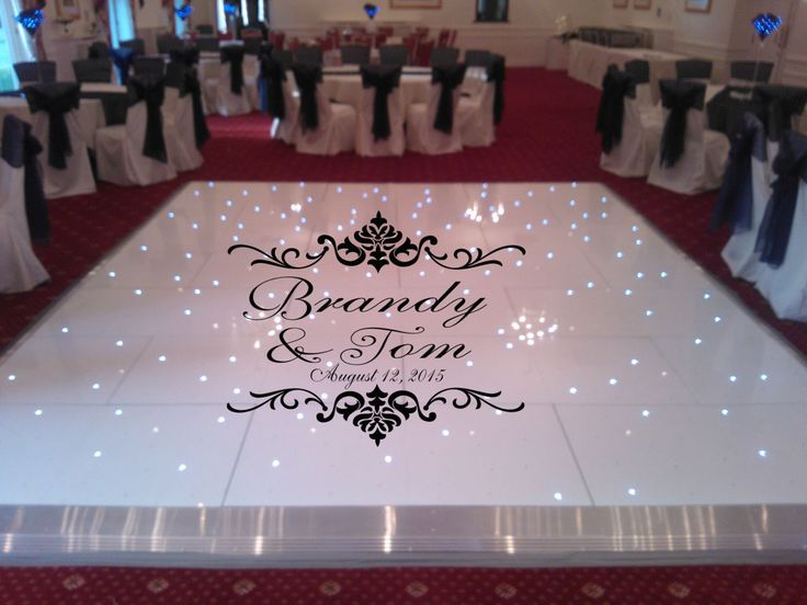 Damask theme dance floor decal wedding day fancy calligraphy font dance floor personalized names vinyl lettering huge size options